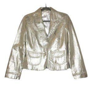 White House Black Market Shimmer Leather Jacket